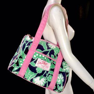 Lilly Pulitzer Canvas Duffle Bag Zip Tote Satchel